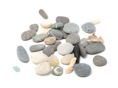 scattered on white background: Pebbles And Shells Stock Photo