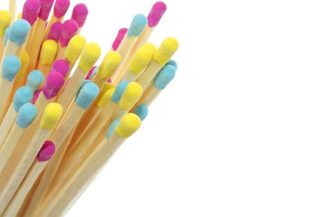 Multicolored Matches on White Background Stock Photo - 8046183