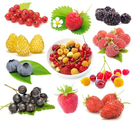 currants: Set of Fresh Berries Isolated on White Background Stock Photo