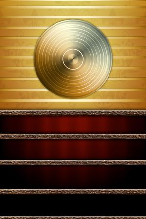 Music Background with Golden Disc photo
