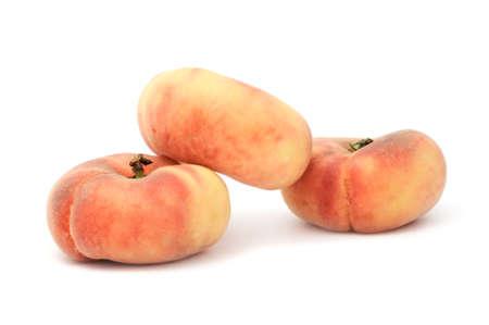 Flat Peaches Isolated on White Background photo