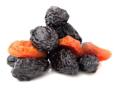 dried plums: Prunes and Dried Apricots Isolated on White Background