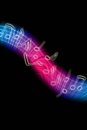 Dancing Music Notes on Black Background Stock Photo - 8170382