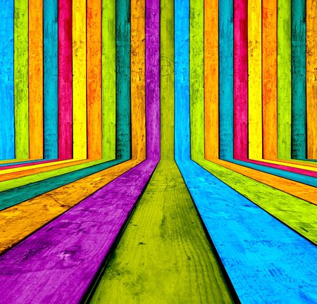 catchy: Creative Multicolored Wooden Room as Background Stock Photo