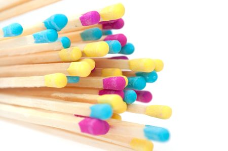 Multicolored Matches on White Background Stock Photo - 8170558