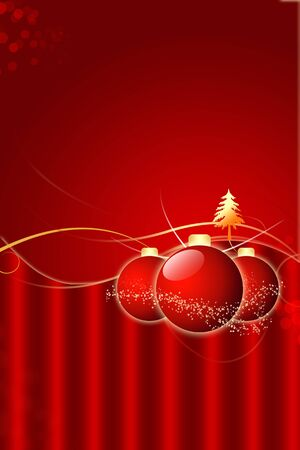 Christmas Background with Balls And Golden Christmas Tree photo