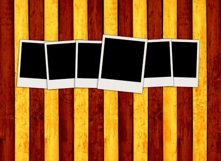 recollections: Six Blank Photos on Colorful Wood Background