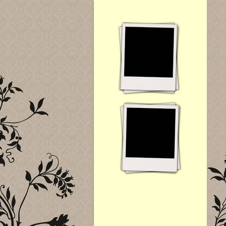 Two Blank Photos on Japanese-Style Background photo