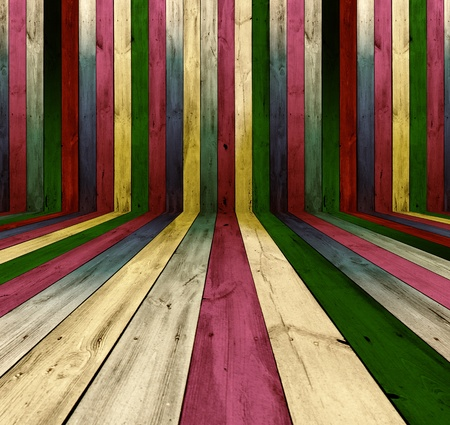 catchy: Multicolored Wooden Room As Background Stock Photo