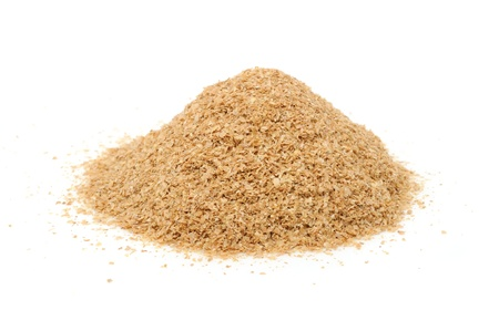 Pile of Wheat Bran Isolated on White Background photo