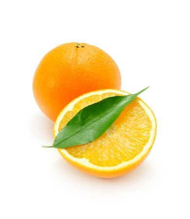 Juicy Oranges with Green Leaf Isolated on White Background photo