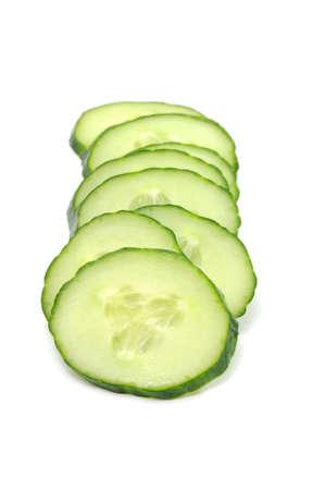 Sliced Cucumber Isolated on White Background photo