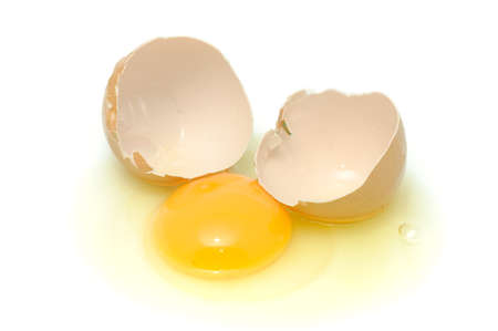 albumin: Broken Egg Isolated on White Background