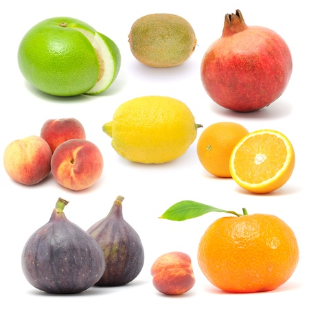 Fresh Fruit Set Isolated on White Background photo