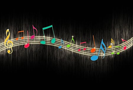 the blues: Music Notes on Black Background Stock Photo
