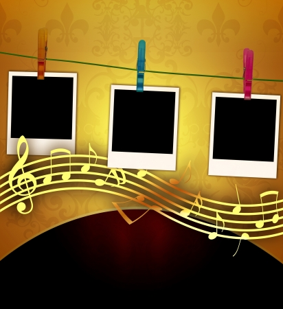 Blank Photos on Music Background Stock Photo - 9073209