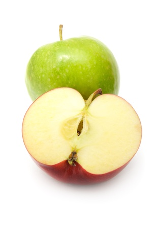 two and a half: Green And Red Apples Isolated on White Background Stock Photo