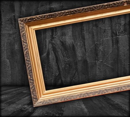 gallery wall: Blank Picture Frame in Dark Room Stock Photo