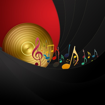 Golden Disc and Music Notes Stock Photo - 9130061