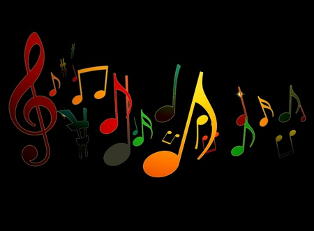 soul music: Dancing Music Notes on Black Background
