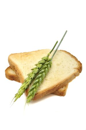Wheat Toasts with Ears Isolated on a White Background photo