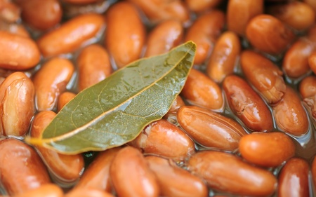 Cooked Kidney Beans with Bay Leaf photo