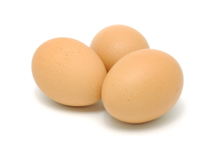 Brown Chicken Eggs Isolated on White Background photo