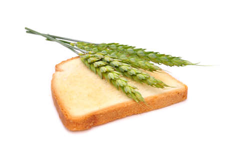 Wheat Toast with Ears of Wheat Isolated on White Background photo