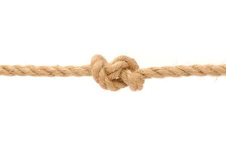 結び目: ジュート ロープ結び目白い背景の上で