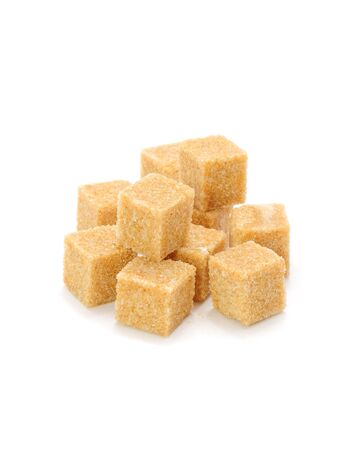 sugar cubes: Brown Sugar Cubes Isolated on White Background