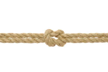 attach: Jute Rope with Reef Knot on White Background