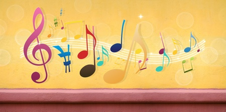 funk music: Music Notes on Concrete Wall (Extra-Wide Background) Stock Photo
