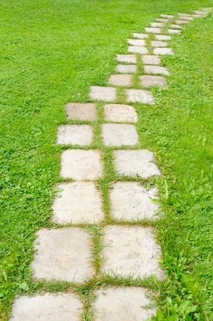 lead: Percorso del giardino piastrellato in erba verde Archivio Fotografico