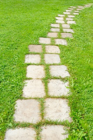 lead: Tiled Garden Path in Green Grass Stock Photo
