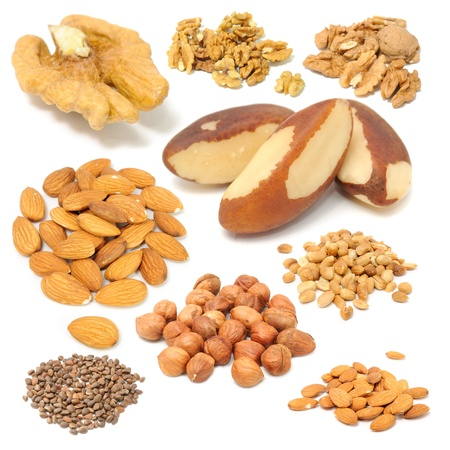 Set of Nuts (Walnuts, Brazil Nuts, Almonds, Peanuts, Hazelnuts and Pine Nuts) Isolated on White Background photo