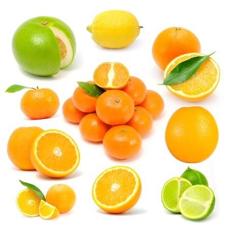 Citrus Fruit Set (Grapefruit, Lemon, Orange, Tangerine, Lime) Isolated on White Background Stock Photo