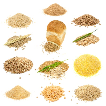 Grain and Cereal Set (Brown Rice, Bran, Lentils, Rye Grains, Wheat Grains and Flakes, Buckwheat, Oats, Corn Grits, Wheat Groats, Split Peas, Whole Oats) Isolated on White Background Stock Photo