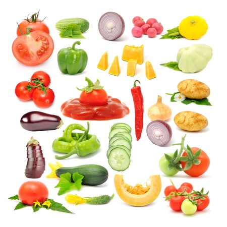 Vegetable Set (Tomato, Cucumber, Onion, Radish, Scalloped Squash, Sweet and Chili Peppers, Pumpkin, Potato, Aubergine, Zucchini) Isolated on White Background Stock Photo