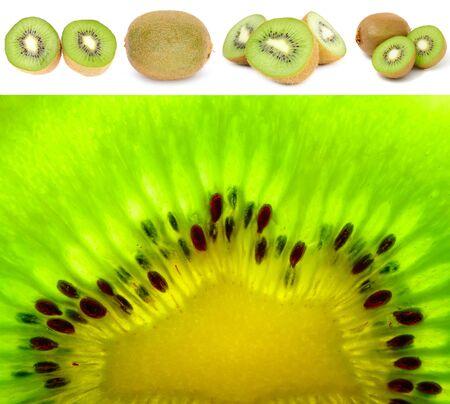 kiwi fruta: Kiwis establecer aislada sobre fondo blanco Foto de archivo