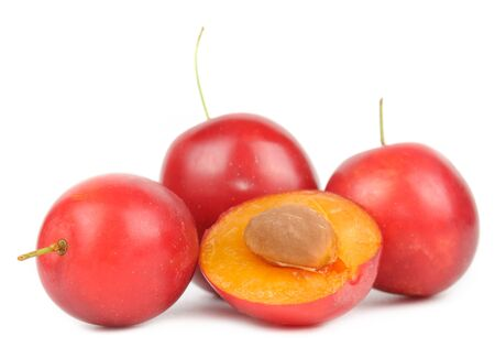 alycha: Red Cherry Plums Isolated on White Background