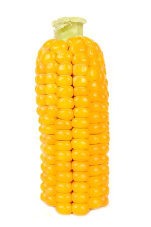espiga de trigo: Maíz en la Cob aislada sobre fondo blanco