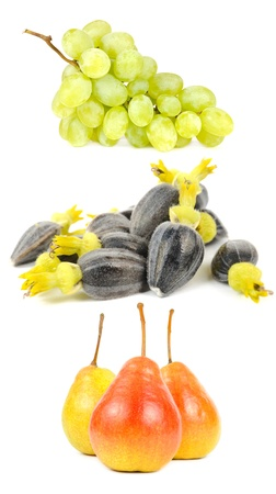 Grapes, Sunflower Seeds and Pears Isolated on White Background photo