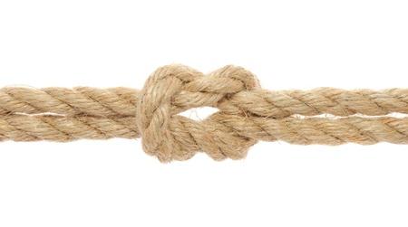 nudos: Cuerda con nudo de arrecife sobre fondo blanco