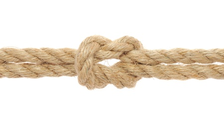 bonding rope: Rope with Reef Knot on White Background Stock Photo