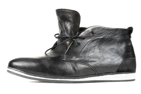 Black Leather Men�s Shoe Isolated on White Background photo
