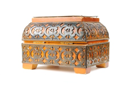 antique jewelry: Vintage Box Isolated on White Background Stock Photo