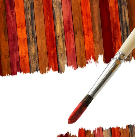 Brush and Wood Background with Copy Space Stock Photo - 11015918