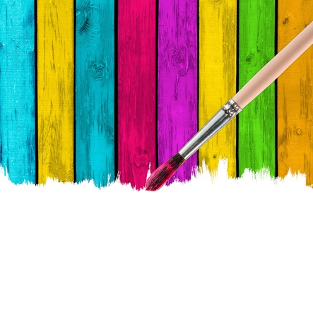 Brush Painting Multicolored Wood Background photo