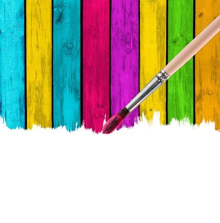 Brush Painting Multicolored Wood Background