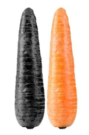 nitrate: Contaminated and Organic Carrots Isolated on White Background